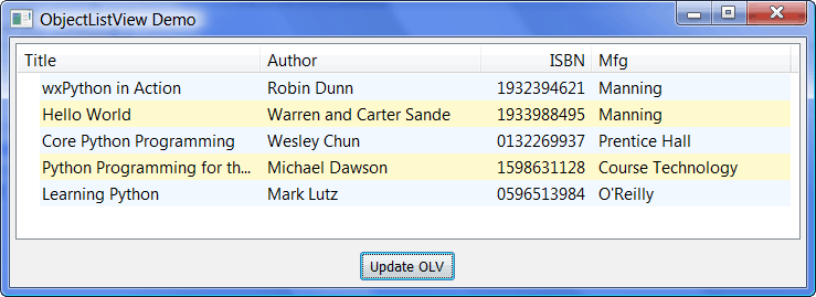 wxPython: Using ObjectListView instead of a ListCtrl - The