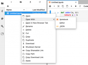 Context Menu for Files in JupyterLab