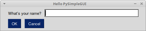 Hello World with PySimpleGUI