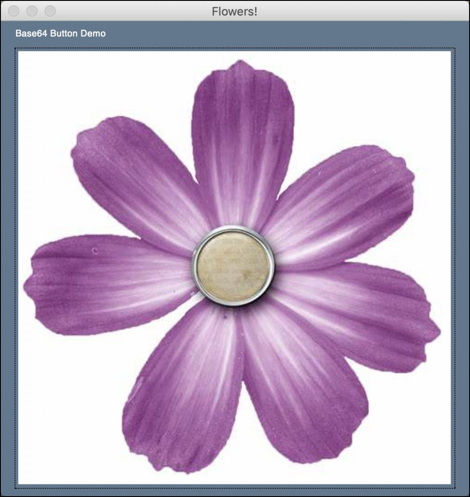 A flower button in a PySimpleGUI application