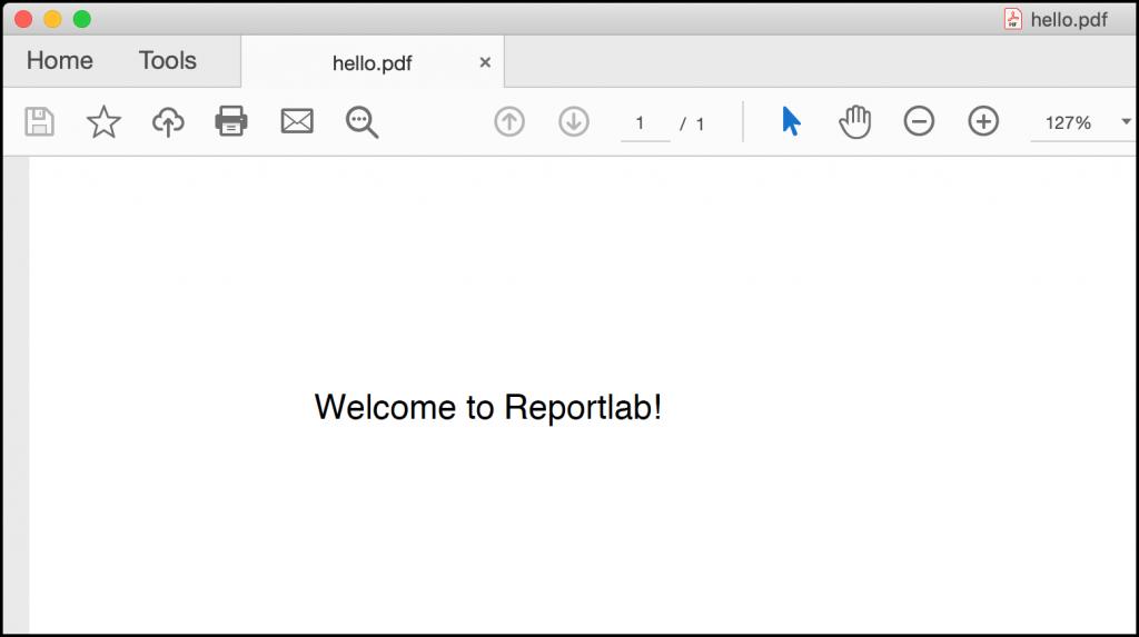 Hello World on ReportLab Canvas