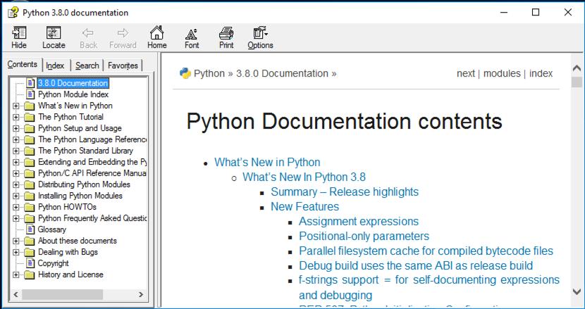 Python documentation in IDLE
