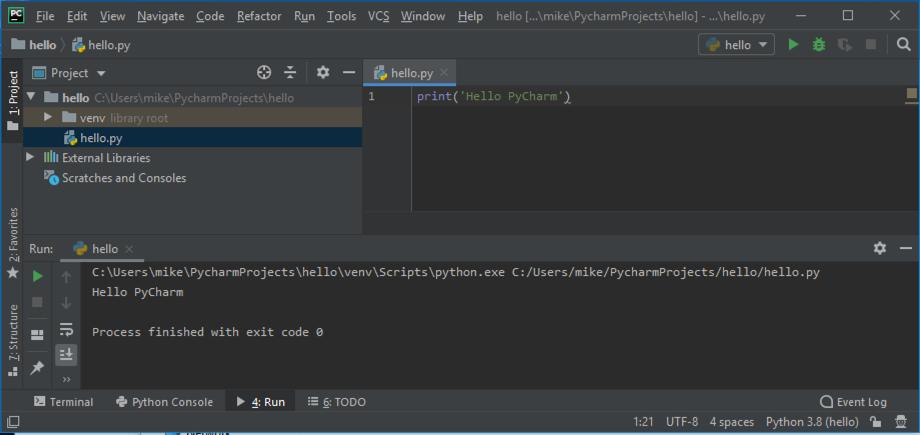Running code in PyCharm