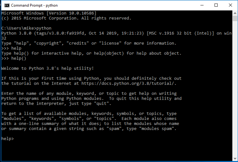 Running help() in the REPL