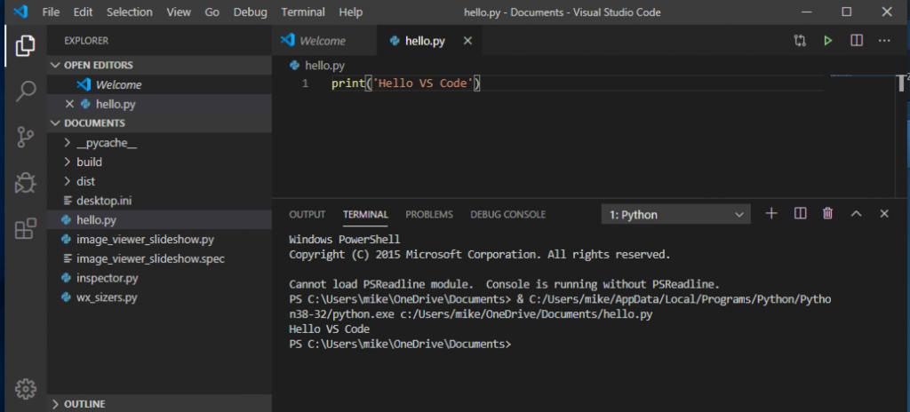 Running Python code in VS Code